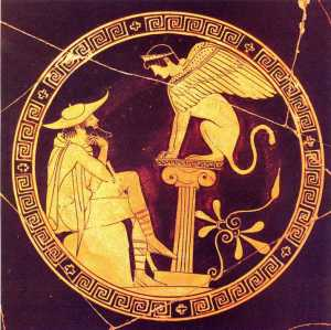 Red-figure vase painting of Oedipus solving the riddle of the Sphinx