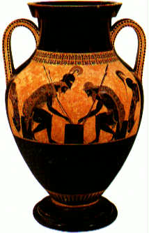 Black-figure vase showing Achilles playing checkers with Ajax