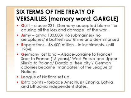 WW1 Treaty of Versailles GARGLE